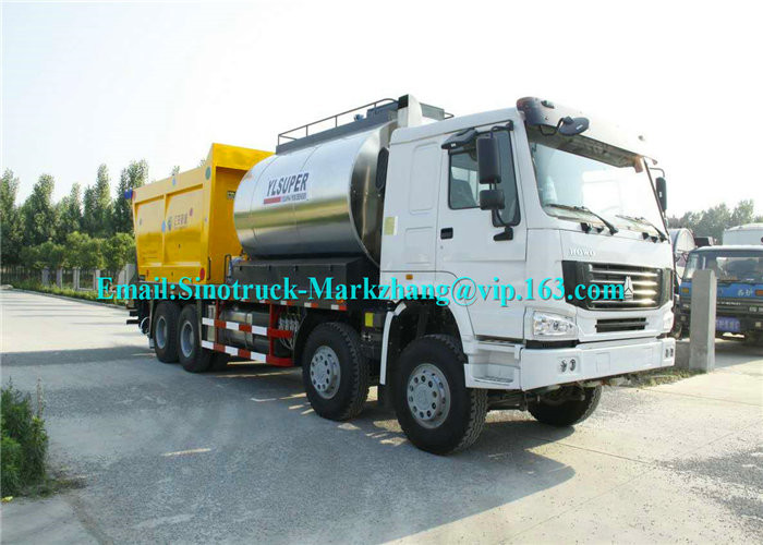 ZZ3317N4667D1 Road Maintenance Machinery , Fiber Asphalt Chip Seal Chip Sealer Machine